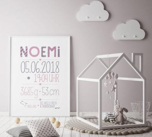 mock up poster frame in children bedroom, scandinavian style int